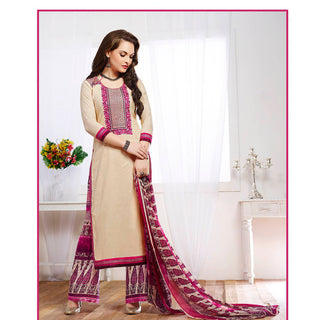 Beige and pink designer long straight knee length semi stitched salwar suits