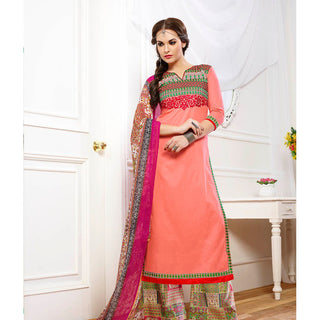 Orange designer straight knee length embroidered salwar suits with chiffon dupatta
