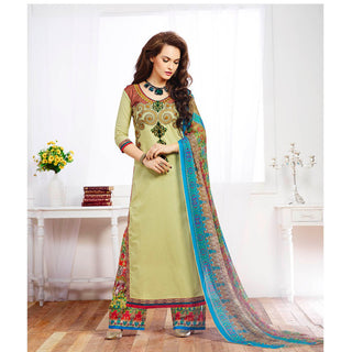 Designer green long straight knee length embroidered work salwar suits with printed dupatta