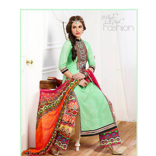 Green designer long knee length straight embroidered work with red printed dupatta