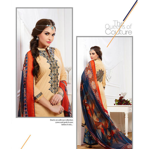 Straight long knee length designer semi stitched with printed dupatta
