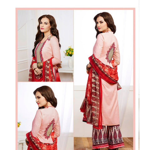 Pink designer long knee length straight semi stitched salwar suits with embroidered work
