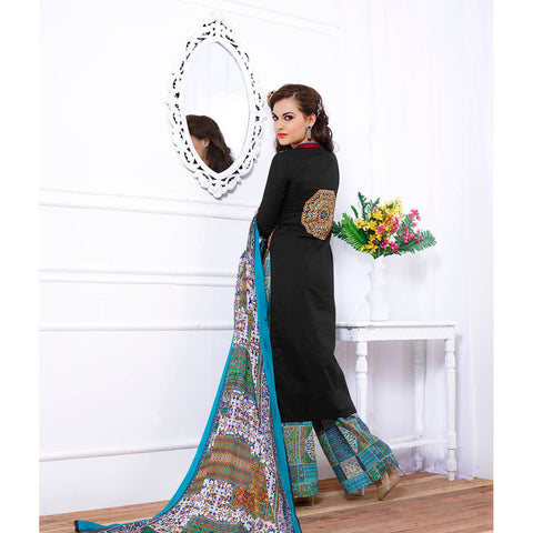 Black straight designer knee length embroidered salwar suits with printed dupatta