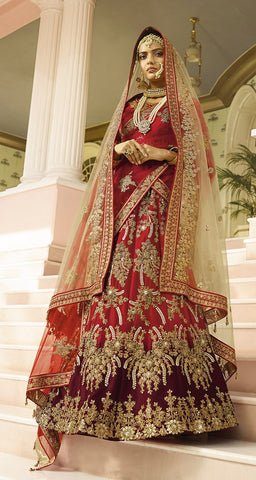 Bridal Red Lehenga In Heavy Work  With Velvet Choli And RedPeach Net dupatta