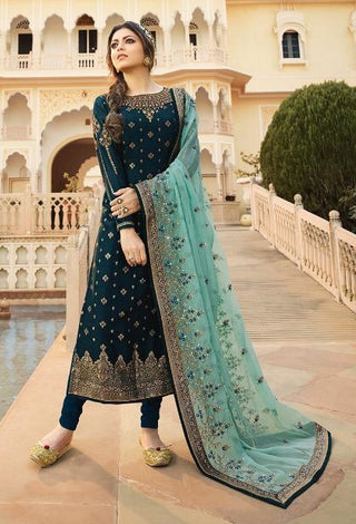 Blue Jacquard Party Wear Salwar Kameez With  Dupatta