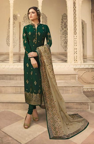 Green Jacquard Party Wear Salwar Kameez With  Dupatta