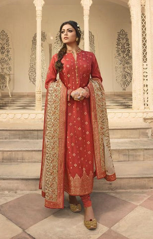 Orange Jacquard Party Wear Suit With  Dupatta