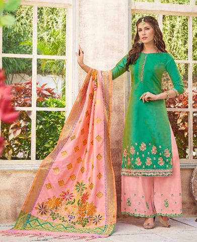 Green and Peach Salwar Suits  With Dupatta