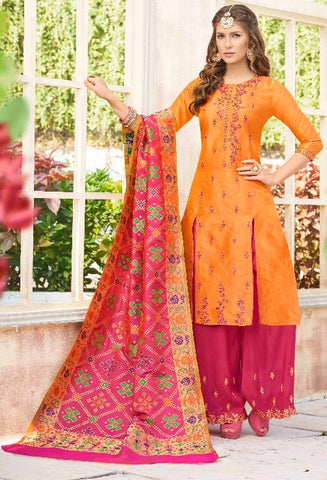 Orange and Pink Suit With Dupatta