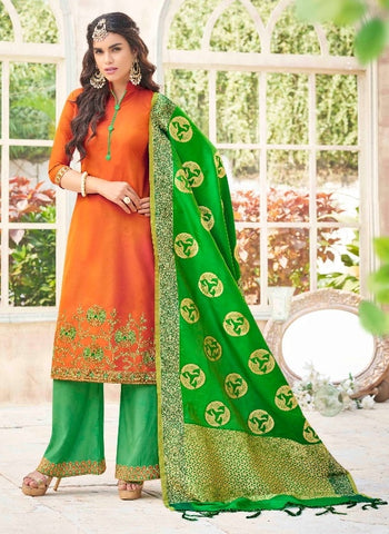 Orange and Green Salwar Kameez With Dupatta
