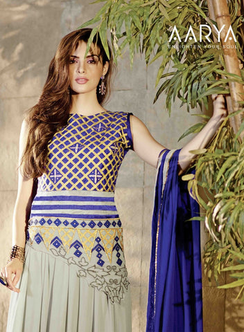 Anarkali long floor length blue and grey with blue dupatta