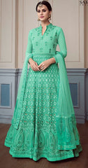 Aqua  Georgette Party Wear Anarkali Dress With Aqua Dupatta