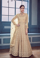 Beige Georgette Party Wear Anarkali Suit With Beige Dupatta