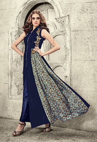 Blue Velvet Floral Pattern Front Slit Type Gown Style Anarkali Suit With Dupatta