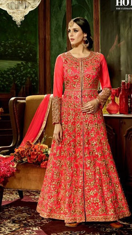 Front Slit Red Silk Embroidered Anarkali With Dupatta