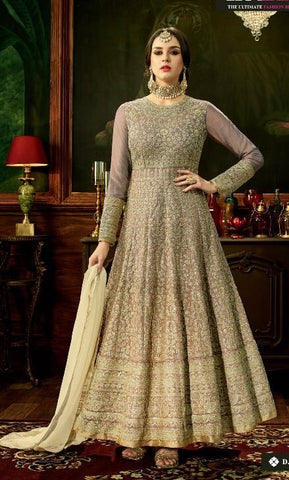 Beige Zari Embroidered Abaya Style Anarkali With Dupatta