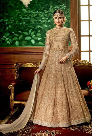 Golden Embroidered Net Abaya Style Anarkali With Duaptta