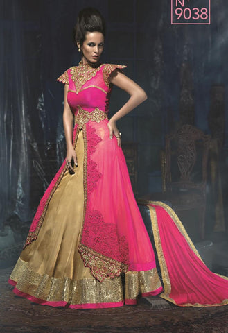 Pink , Beige,Layer,Heavy designer anarkali suits