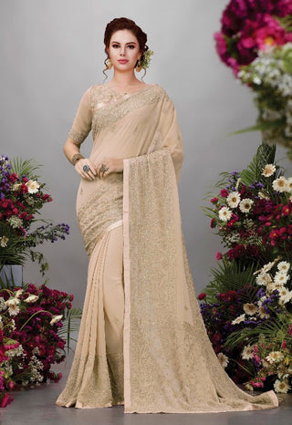 Beige Georgette Party Wear Saree With Blouse