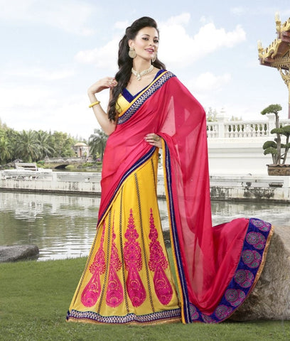 Yellow Satin Saree with embroidery and handwork