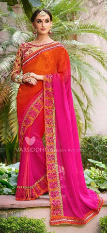 Pink Orange Georgette Party Wear  Saree With Blouse