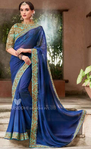Dark Blue Georgette Party Wear  Saree With Blouse
