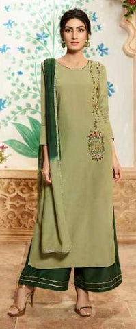 Green Pure Viscose Party Wear Salwar Suit With  Dupatta