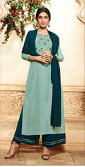 Blue Pure Viscose Party Wear Salwar Suit With  Dupatta