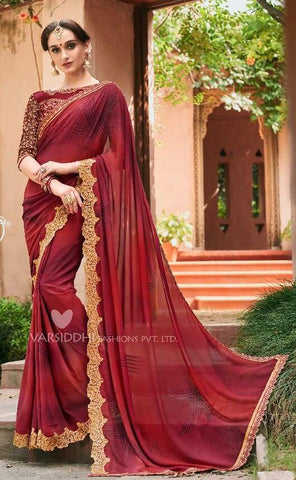 Maroon Georgette Party Wear  Saree With Blouse