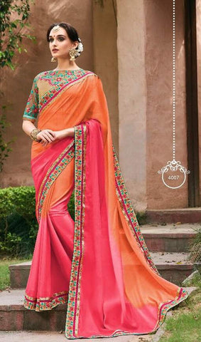 Orange Pink Georgette Party Wear  Saree With Blouse