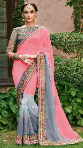 Pink Grey Georgette Party Wear  Saree With Blouse