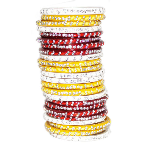 White red yellow glass bangles