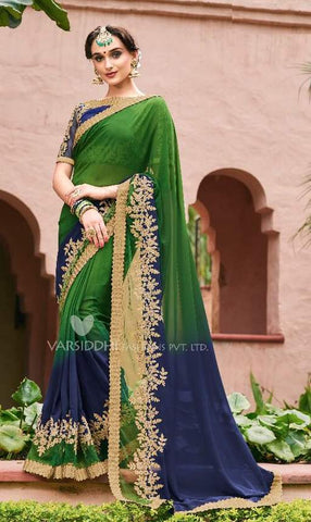 Green Georgette Party Wear  Saree With Blouse