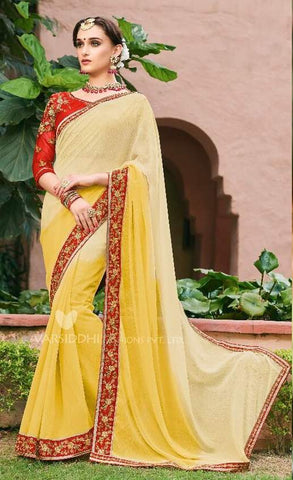 Yellow Georgette Party Wear  Saree With Blouse