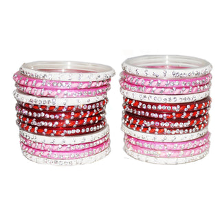 Pink, White, Red Glass Bangles set for woman