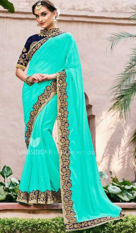 Aqua Georgette Party Wear  Saree With Blouse