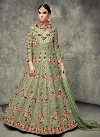 Gree Silk Embroidered Work Anarkali With Green Dupatta