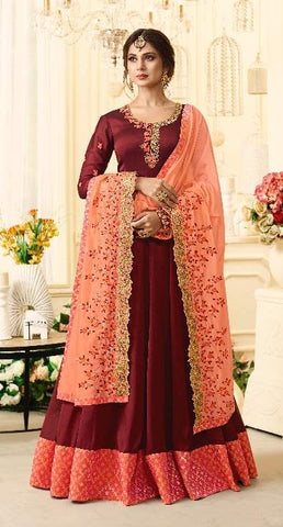 Maroon Georgette Party Wear  Anarkali With Peach Dupatta