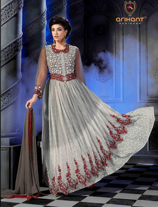 Grey long floor length designer heavy embroidery anarkali frock suits