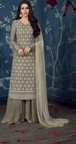 Grey Apple Georgette Party Wear Salwar Suit With  Dupatta