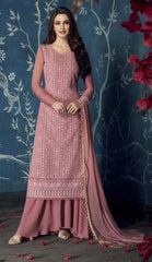Pink Apple Georgette Party Wear Salwar Suit With  Dupatta