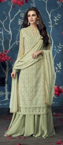 Green Apple Georgette Party Wear Salwar Kameez With  Dupatta