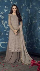 Grey Apple Georgette Party Wear Salwar Kameez With  Dupatta