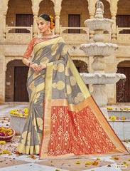 Grey Jacquard Party Wear Saree With Blouse