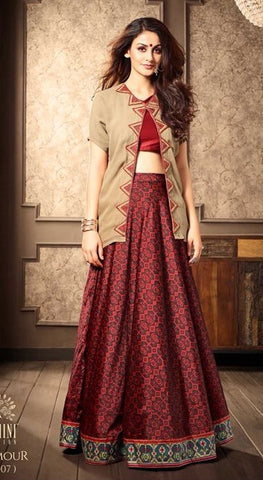 Maroon silk lehenga with designer top