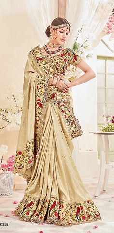 Beige Silk Jari Saree With Embroidered Blouse