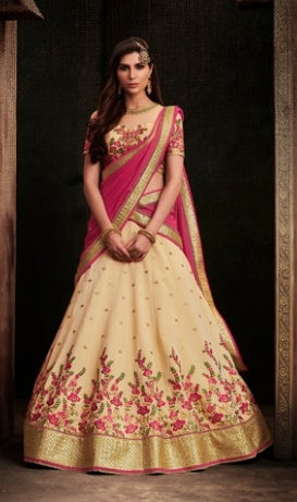 Beige Thread Work Lehenga With Heavy Border , With Floral Thread Work Blouse And Dupatta