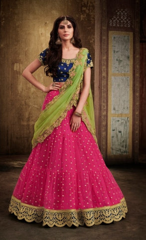 Pink Lehenga Of Net With Choli And Dupatta