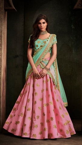 Peach Pink Silk Lehenga With Backless Choli And Dupatta
