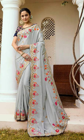 Grey P*P Party Wear  Saree With Blouse